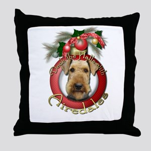 Christmas - Deck the Halls - Airedales Throw Pillo