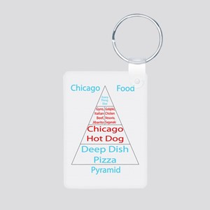 Chicago Food Pyramid Aluminum Photo Keychain