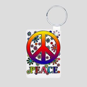 Retro Peace Sign & Flowers Aluminum Photo Keychain