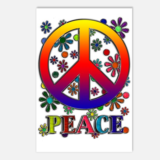 Retro Peace Sign & Flowers Postcards (Package of 8