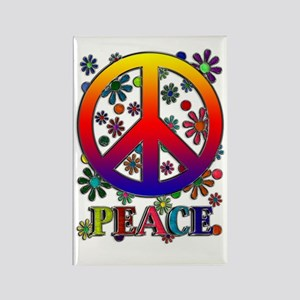 Retro Peace Sign & Flowers Rectangle Magnet