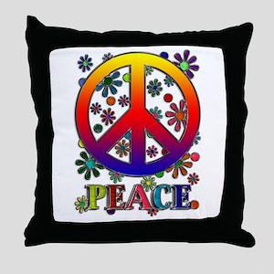 Retro Peace Sign & Flowers Throw Pillow