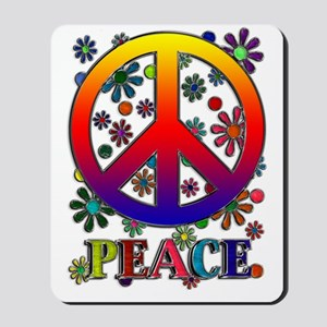 Retro Peace Sign & Flowers Mousepad
