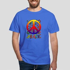 Retro Peace Sign & Flowers Dark T-Shirt