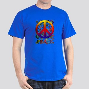 Retro Peace Sign & Flowers Dark T-Shirt