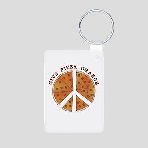 Give Pizza Chance Aluminum Photo Keychain