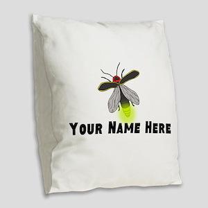 Lightning Bug Fun Burlap Throw Pillow