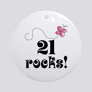 21st Birthday Butterfly Ornament (Round)