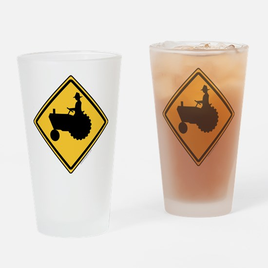 Tractor Sign Drinking Glass