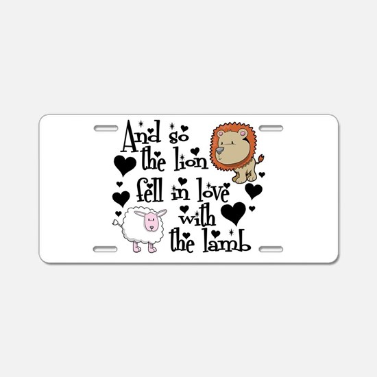 Lion fell in love with lamb Aluminum License Plate