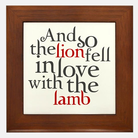Lion fell in love with the lamb Framed Tile