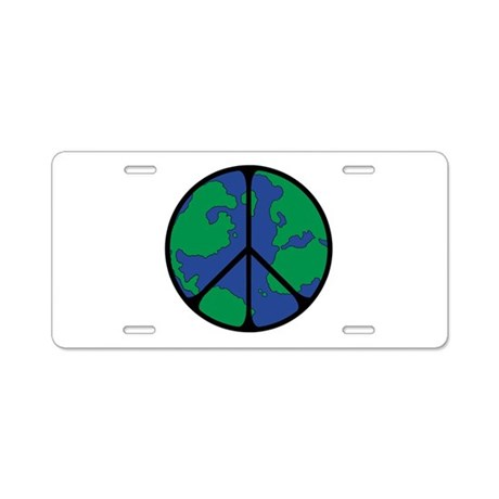 Global Peace Sign Aluminum License Plate