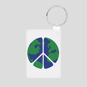 Global Peace Sign Aluminum Photo Keychain
