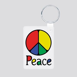 Emphatic Peace Colours Aluminum Photo Keychain