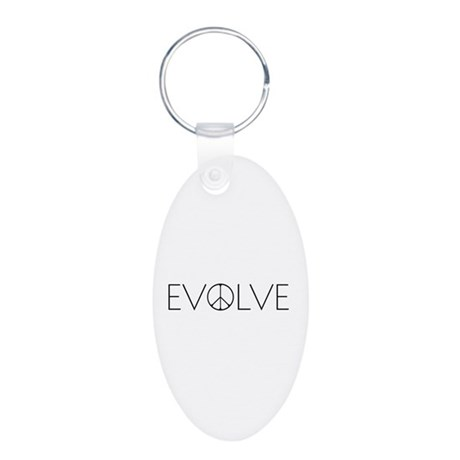 Evolve Peace Narrow Aluminum Oval Keychain