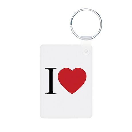 I LOVE (Heart) Aluminum Photo Keychain
