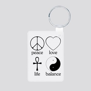 Peace Love Life Balance Aluminum Photo Keychain