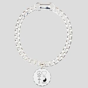 Peace Love Life Balance Charm Bracelet, One Charm