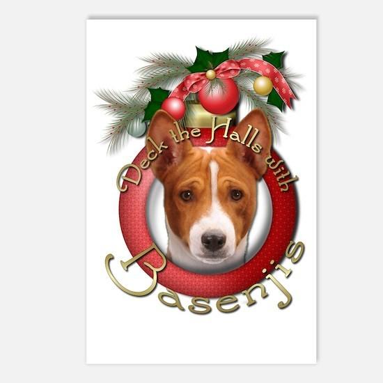 Christmas - Deck the Halls - Basenjis Postcards (P