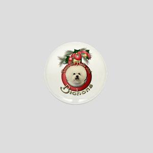 Christmas - Deck the Halls - Bichons Mini Button
