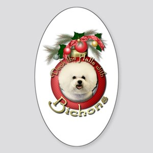 Christmas - Deck the Halls - Bichons Sticker (Oval