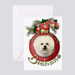Christmas - Deck the Halls - Bichons Greeting Card