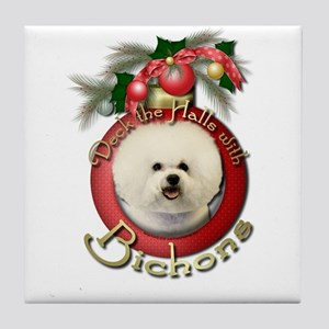 Christmas - Deck the Halls - Bichons Tile Coaster