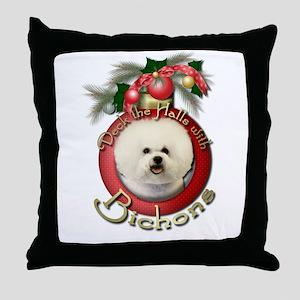 Christmas - Deck the Halls - Bichons Throw Pillow