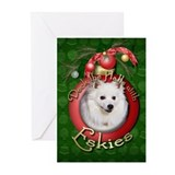 American eskimo christmas Greeting Cards (20 Pack)