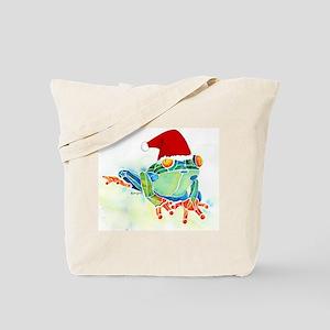 Christmas Holiday Tree Frog Tote Bag