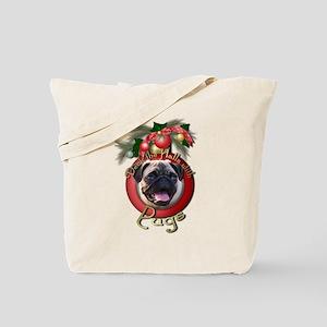 Christmas - Deck the Halls - Pugs Tote Bag