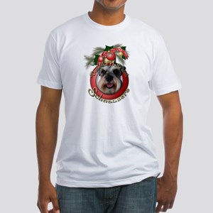 Christmas - Deck the Halls - Schnauzers Fitted T-S