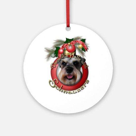Christmas - Deck the Halls - Schnauzers Ornament (
