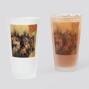 Galloping Wild Mustang Horses Drinking Glass