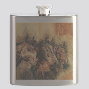 Galloping Wild Mustang Horses Flask