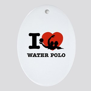 I love Water polo Ornament (Oval)