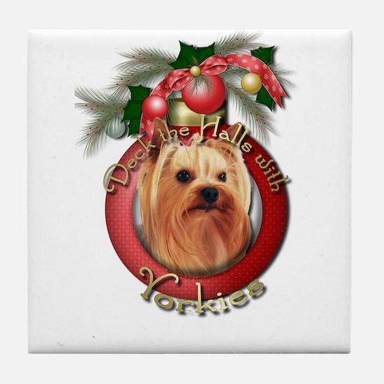 Christmas - Deck the Halls - Yorkies Tile Coaster