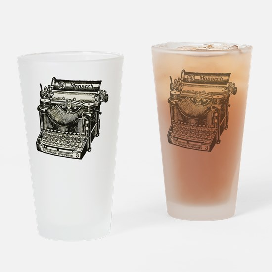 Funny Vintage typewriter Drinking Glass