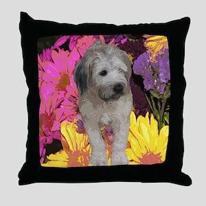 Wheaten Flower Throw Pillow