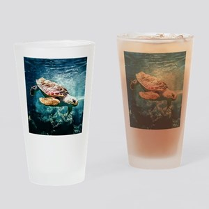 Tropical Sea Turtle Diving in the B Drinking Glass