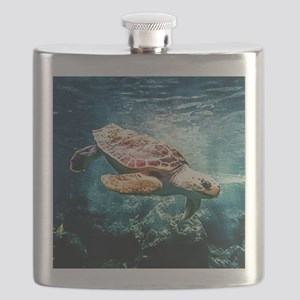 Tropical Sea Turtle Diving in the Blue Carib Flask