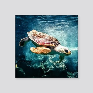 Tropical Sea Turtle Diving in the Blue Car Sticker