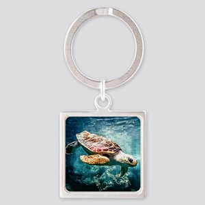 Tropical Sea Turtle Diving in the Blue C Keychains