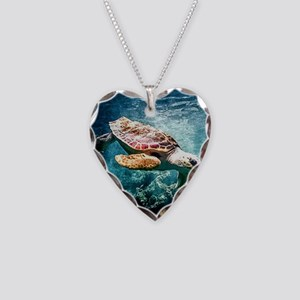 Tropical Sea Turtle Diving in Necklace Heart Charm
