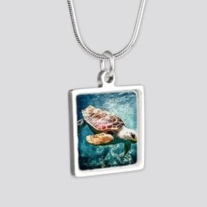 Tropical Sea Turtle Diving in the Blue C Necklaces