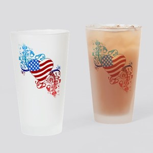 July 4th Heart Scroll Drinking Glass