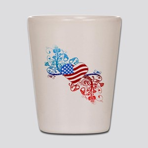 Independence Day Heart Scroll Shot Glass