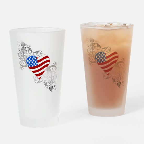 Independence Day Flag Heart Drinking Glass