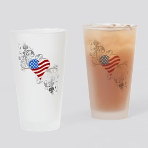 Independence Day Heart Drinking Glass