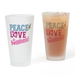 Peace, Love and Happiness Drinking Glass